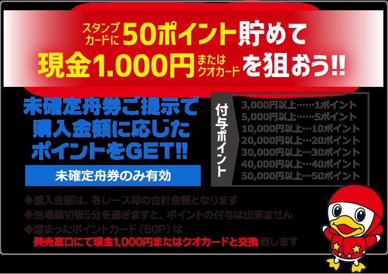 スタンプカードに50ポイント貯めて 現金1,000円またはクオカードを狙おう!!